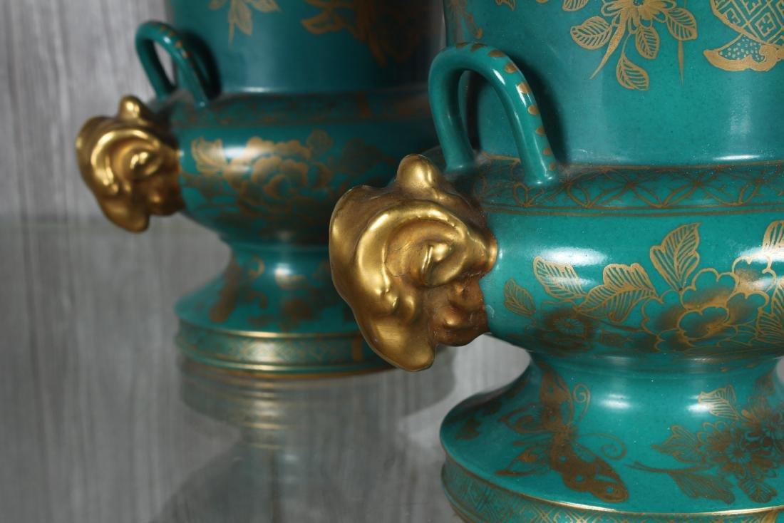 Pair Porcelain Sevre Style Urns Marked - 3