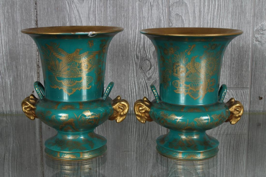 Pair Porcelain Sevre Style Urns Marked - 4
