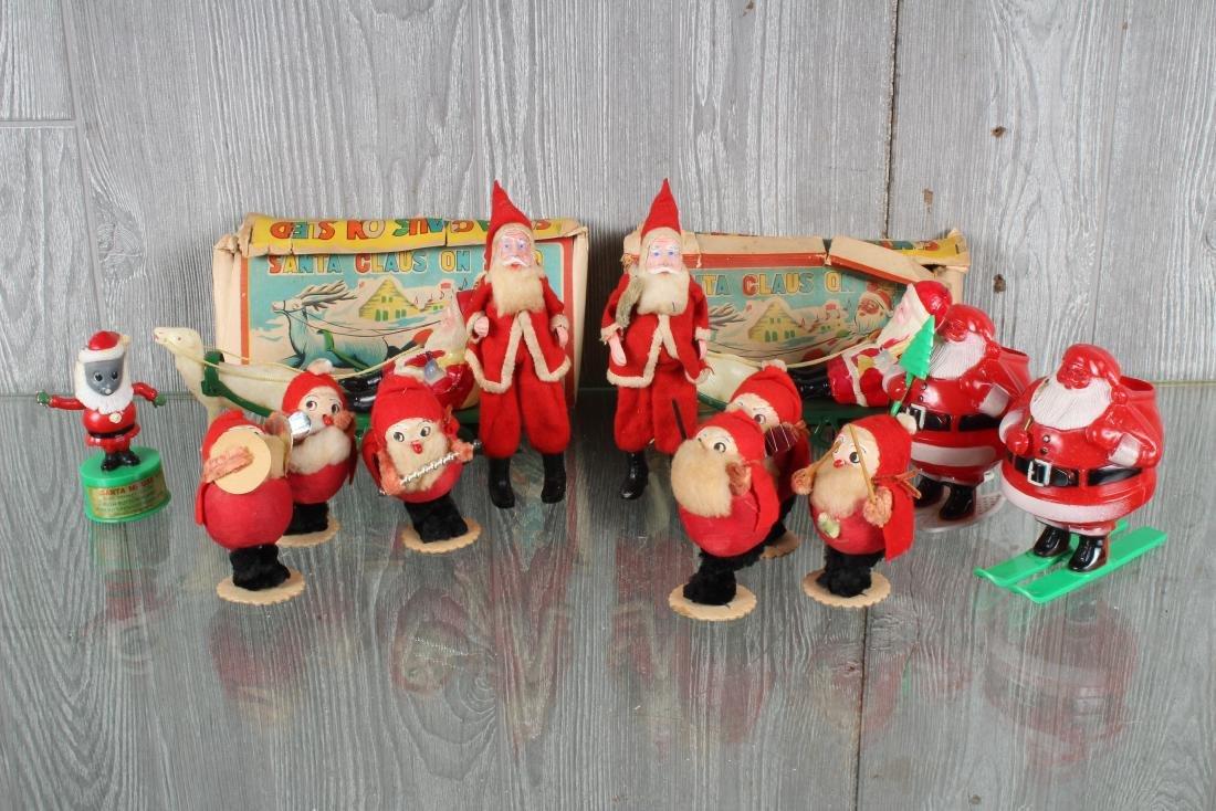 Grouping of Vintage Christmas Santa Decorations