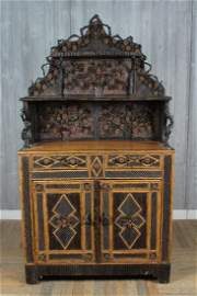 French Twig and Pine Cone Decorated Cabinet