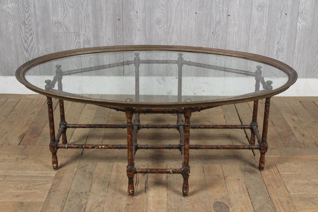 Baker Faux Bamboo Glass Top Table