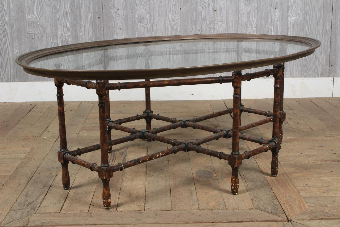 Baker Faux Bamboo Glass Top Table - 3
