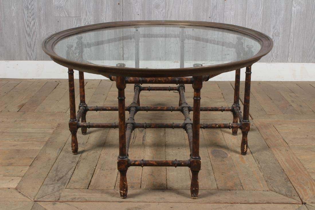Baker Faux Bamboo Glass Top Table - 4