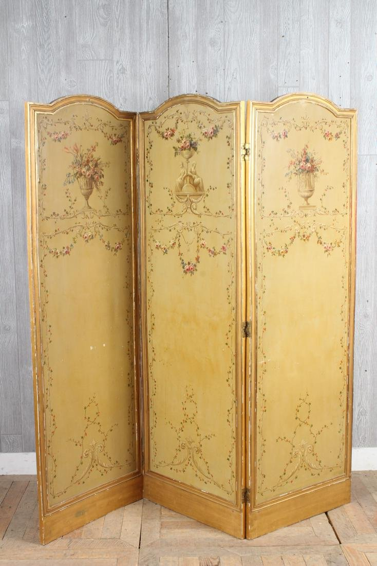Neoclassical Painted 3 Panel Screen
