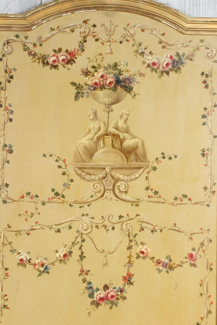 Neoclassical Painted 3 Panel Screen - 4