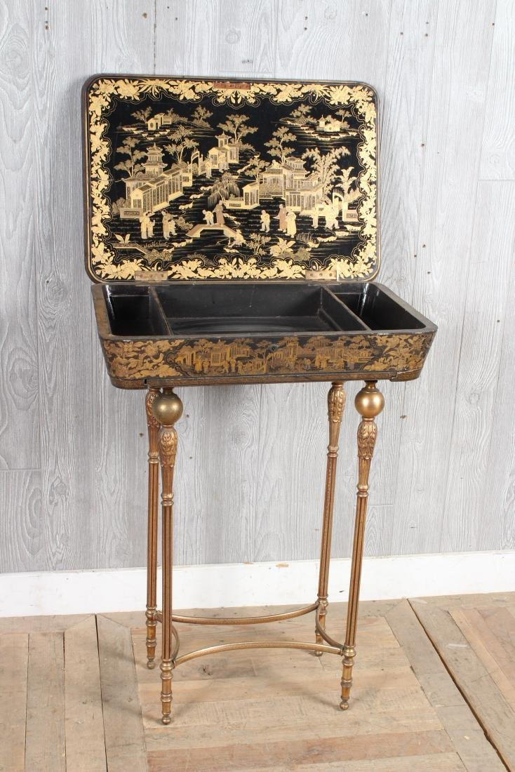 Chinoiserie Lacquered Sewing Stand - 6