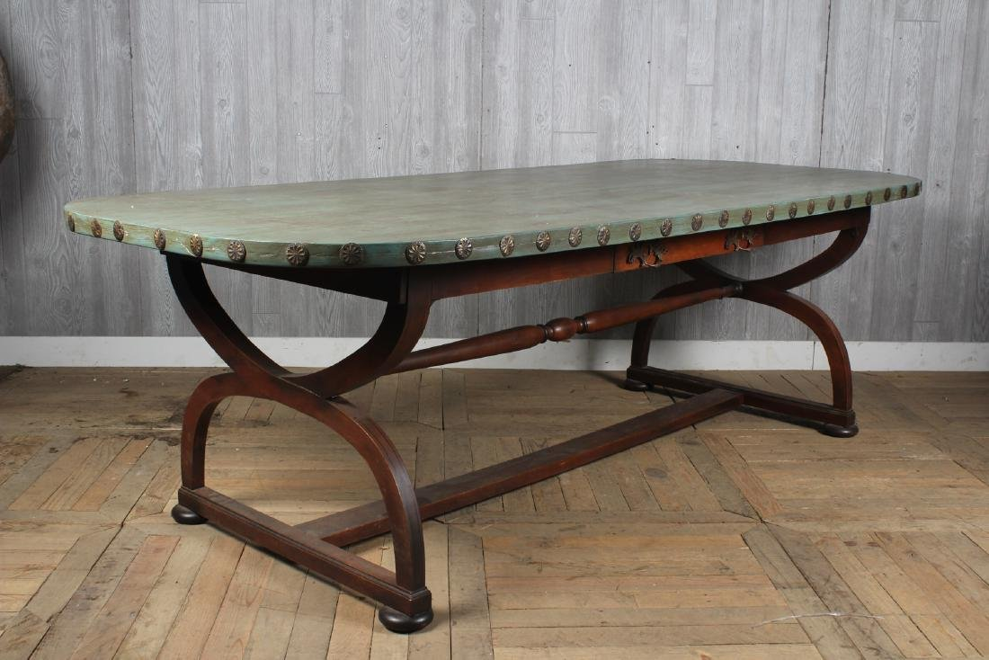 Paint Decorated Curule Base Harvest Dining Table