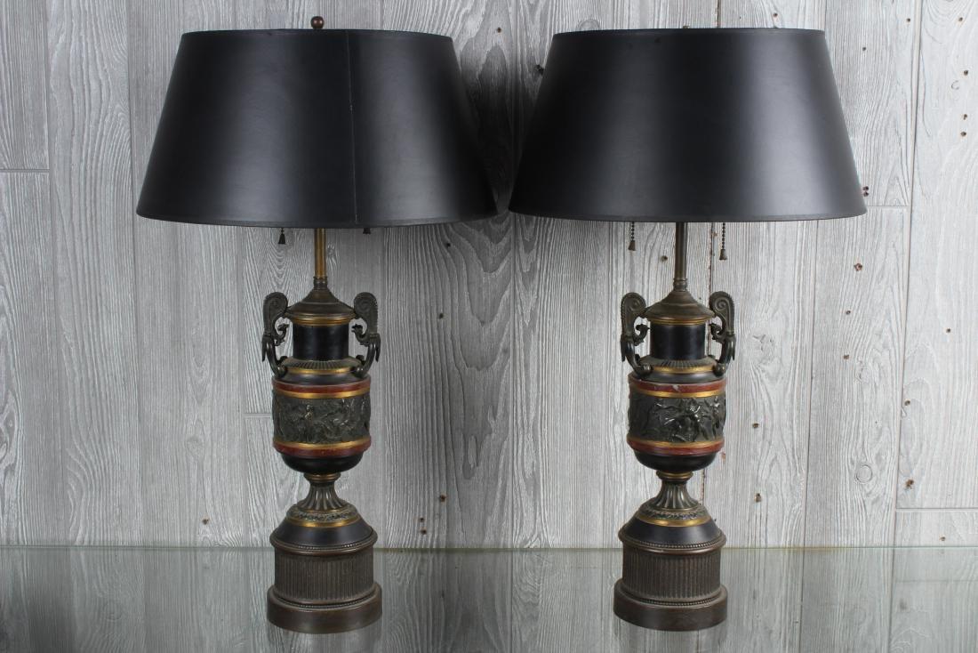 Pair Neoclassical Bronze Urn Form Lamps