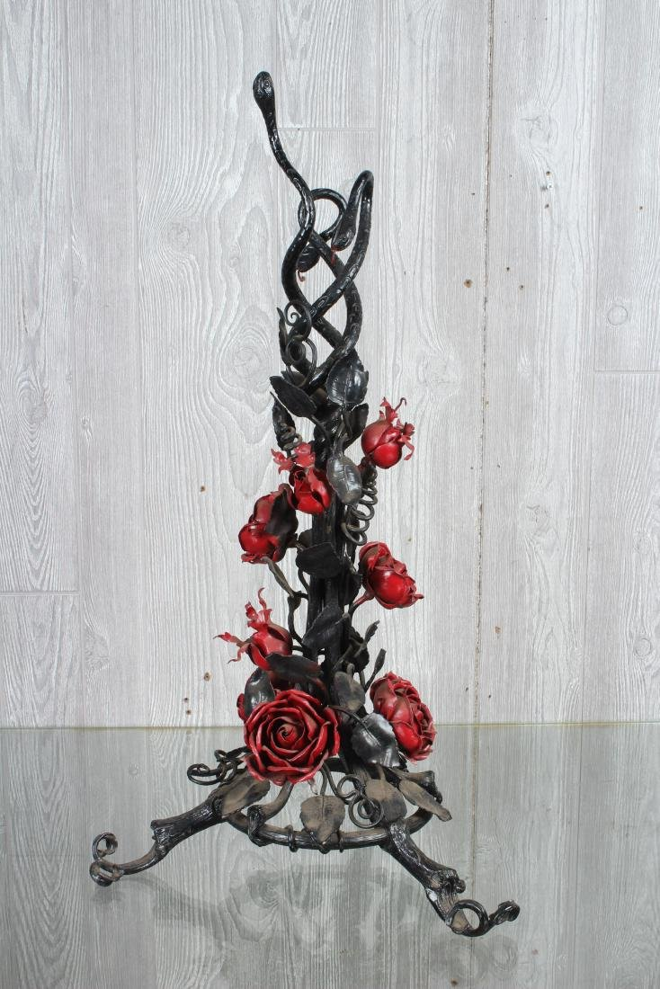 Wrought Iron Snake and Rose Garden Stand - 2