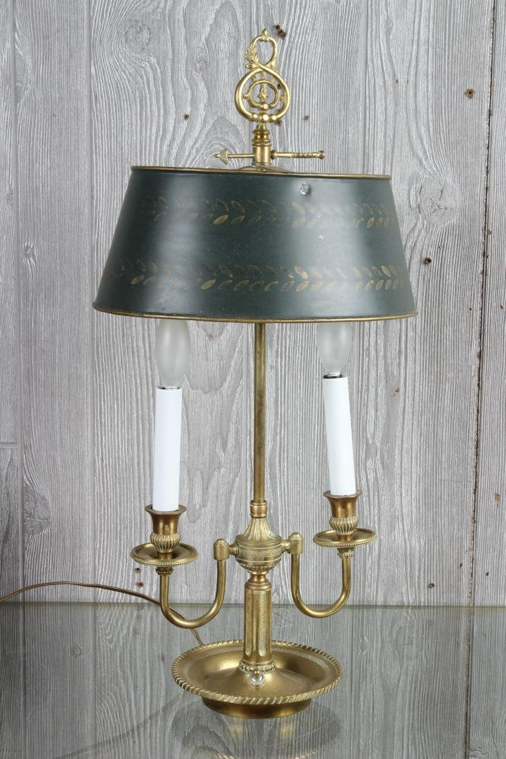 Bronze and Tole Decorated Bouillotte Lamp