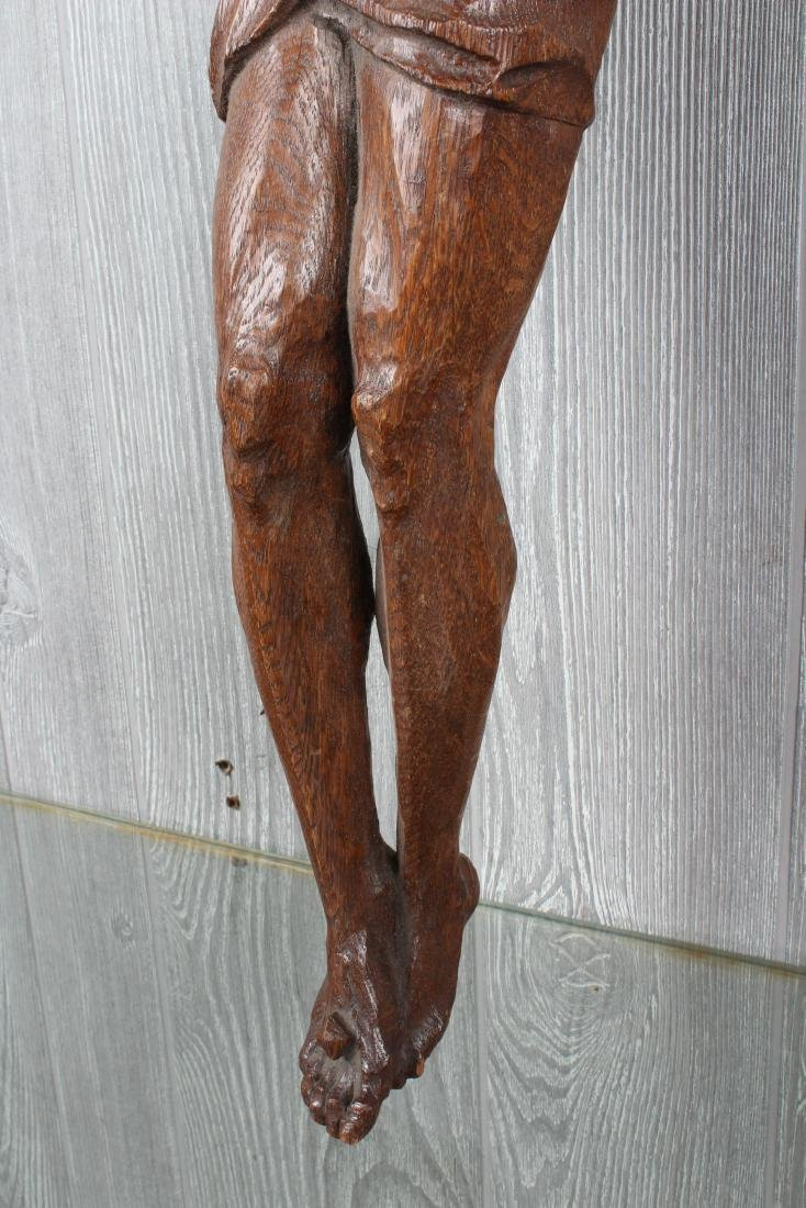 Antique Continental Carved Wood Corpus Christi - 3