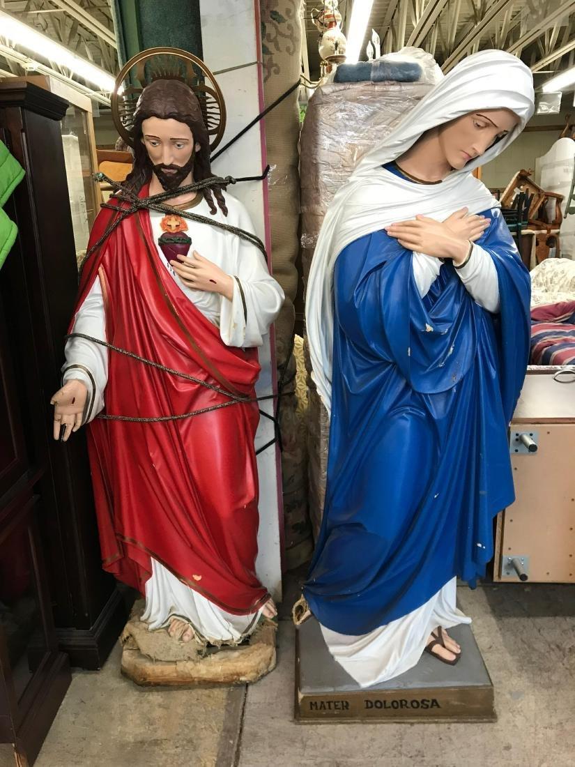 Large Italian Plaster Mater Dolorosa and Jesus