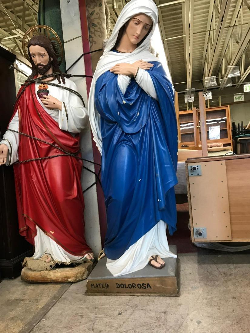 Large Italian Plaster Mater Dolorosa and Jesus - 3