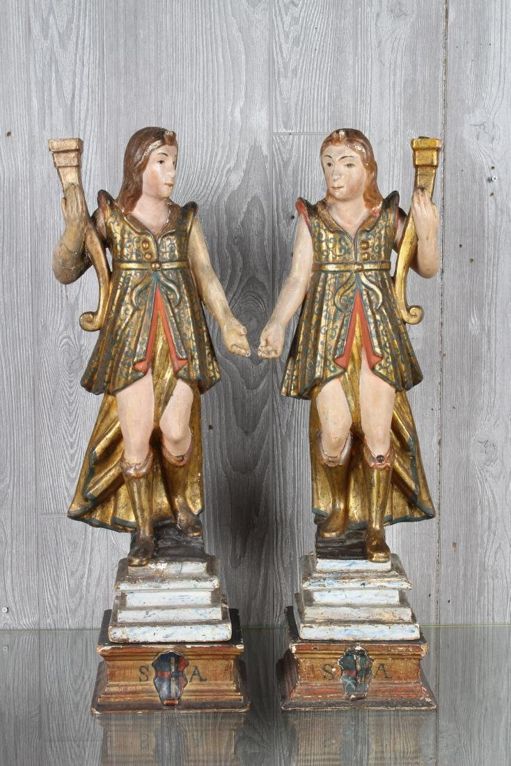 Pair Continental Carved Wood Figures