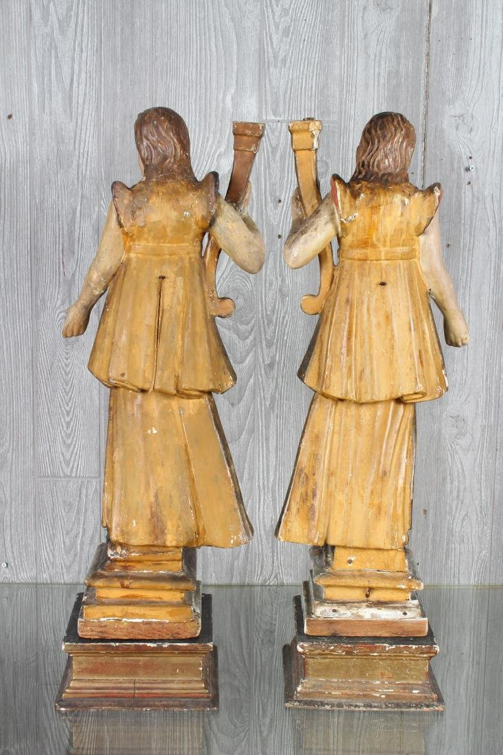 Pair Continental Carved Wood Figures - 4