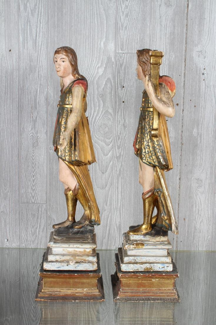 Pair Continental Carved Wood Figures - 5