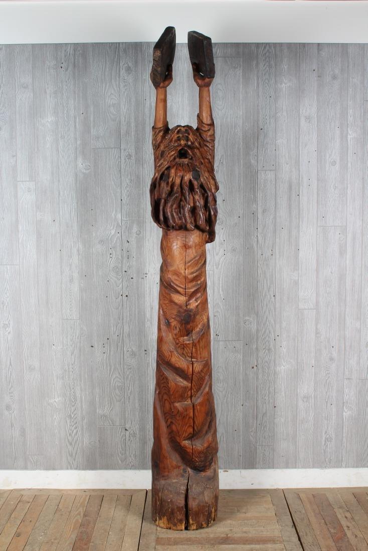 Folk Art Carved Wood Moses Sculpture Signed Jack