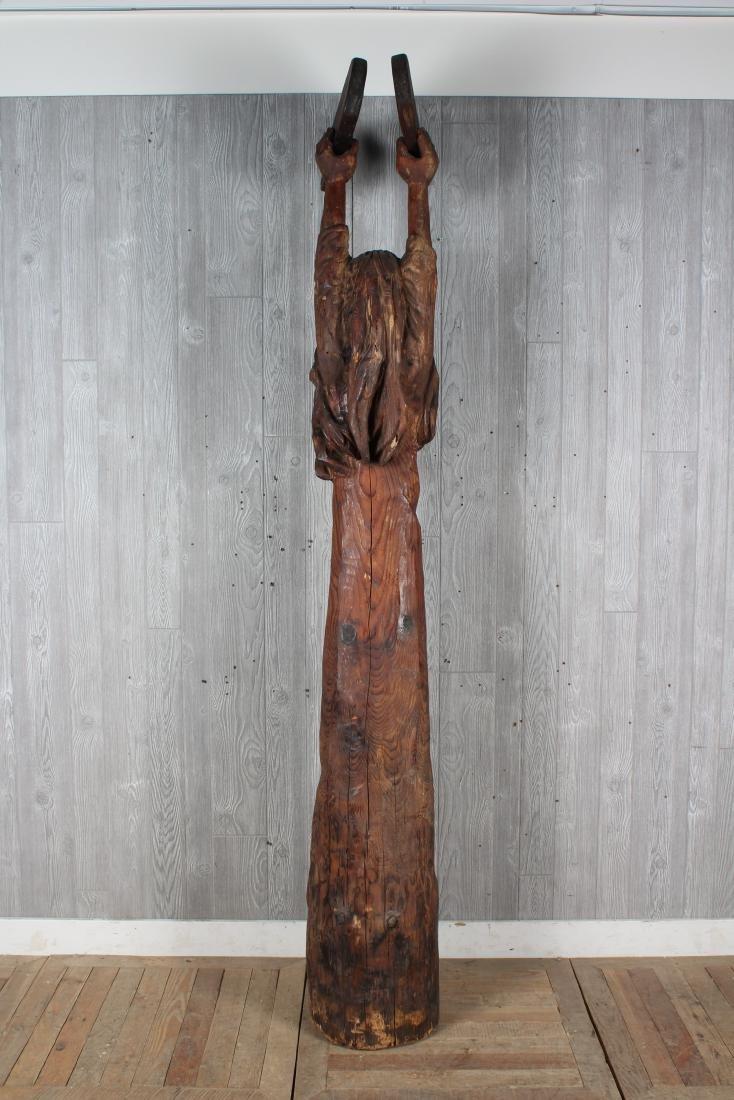 Folk Art Carved Wood Moses Sculpture Signed Jack - 4