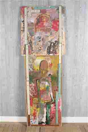 Purvis Young Twofer Painting on Wood