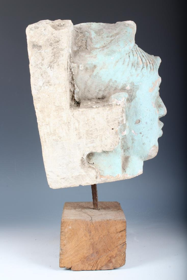 Indian Polychrome Sandstone Deity Portrait Bust - 2