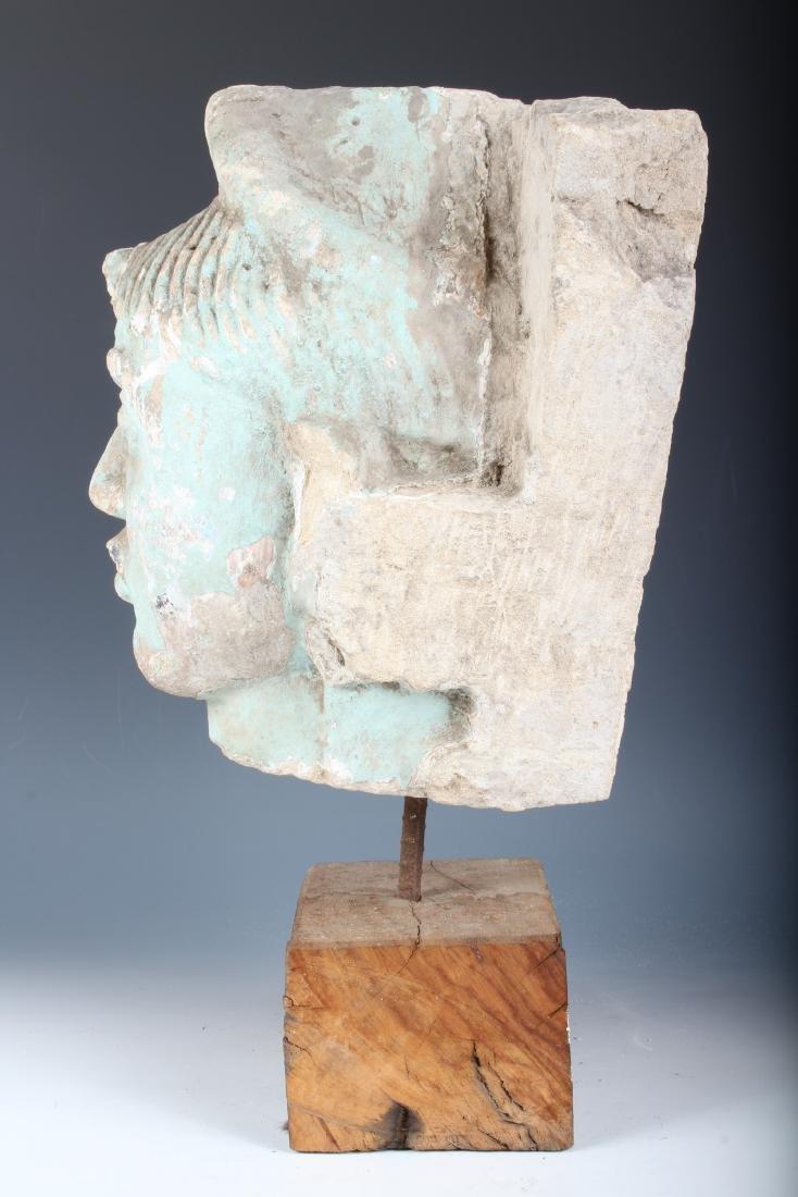 Indian Polychrome Sandstone Deity Portrait Bust - 4