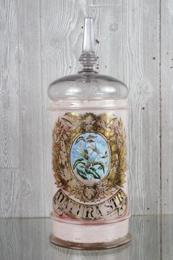 Reverse Painted French Glass Lidded Apothecary Jar