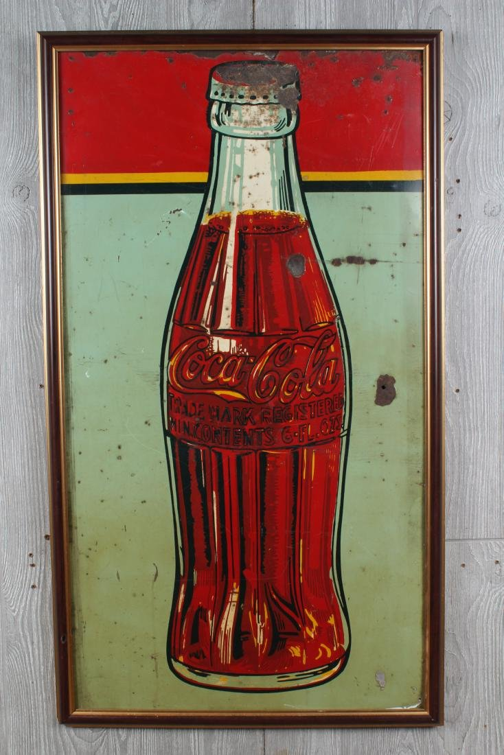 Vintage Coca Cola Enamel Over Tin Advertising Sign