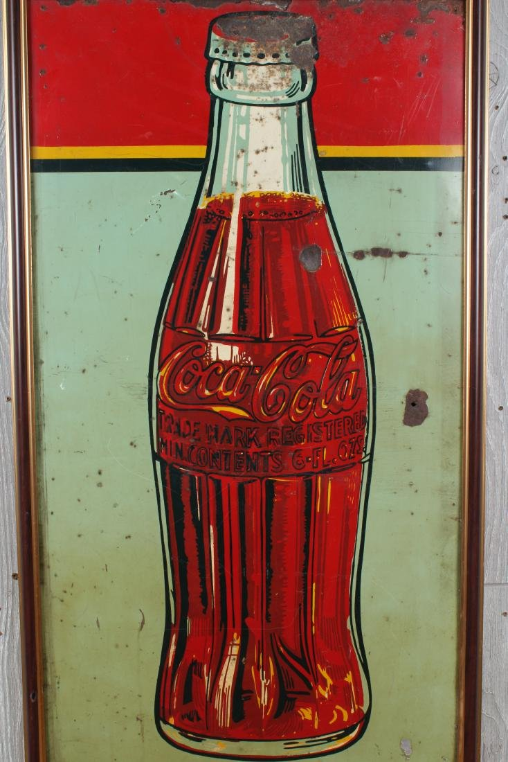 Vintage Coca Cola Enamel Over Tin Advertising Sign - 2