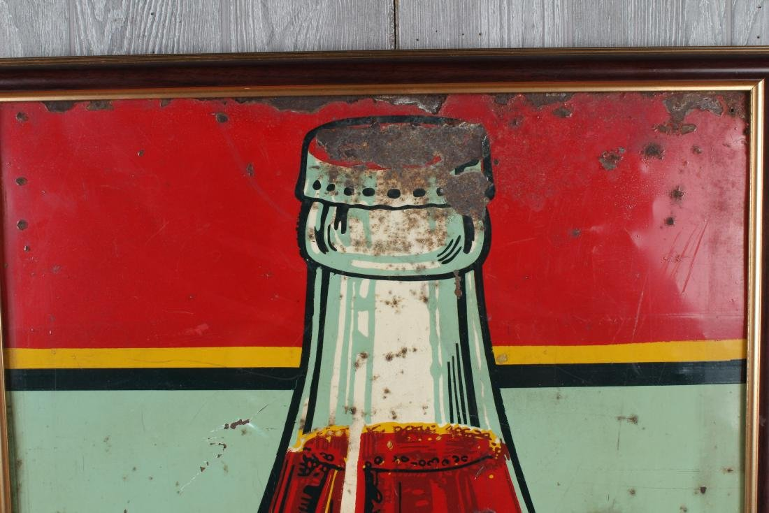Vintage Coca Cola Enamel Over Tin Advertising Sign - 3