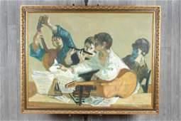Painting Guitaristes Signed Fontanarosa