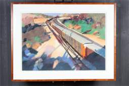 Alice Andrews (American b.1946) Railroad Cars