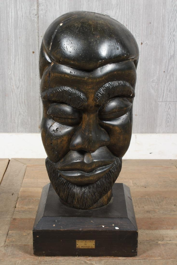 Folk Art Black Americana Carved Wood Sculpture