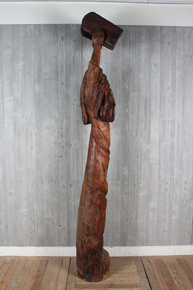 Folk Art Carved Wood Moses Sculpture Signed Jack - 3