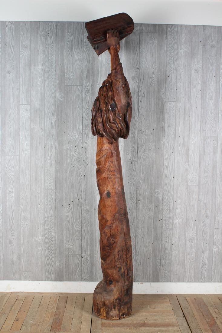 Folk Art Carved Wood Moses Sculpture Signed Jack - 5