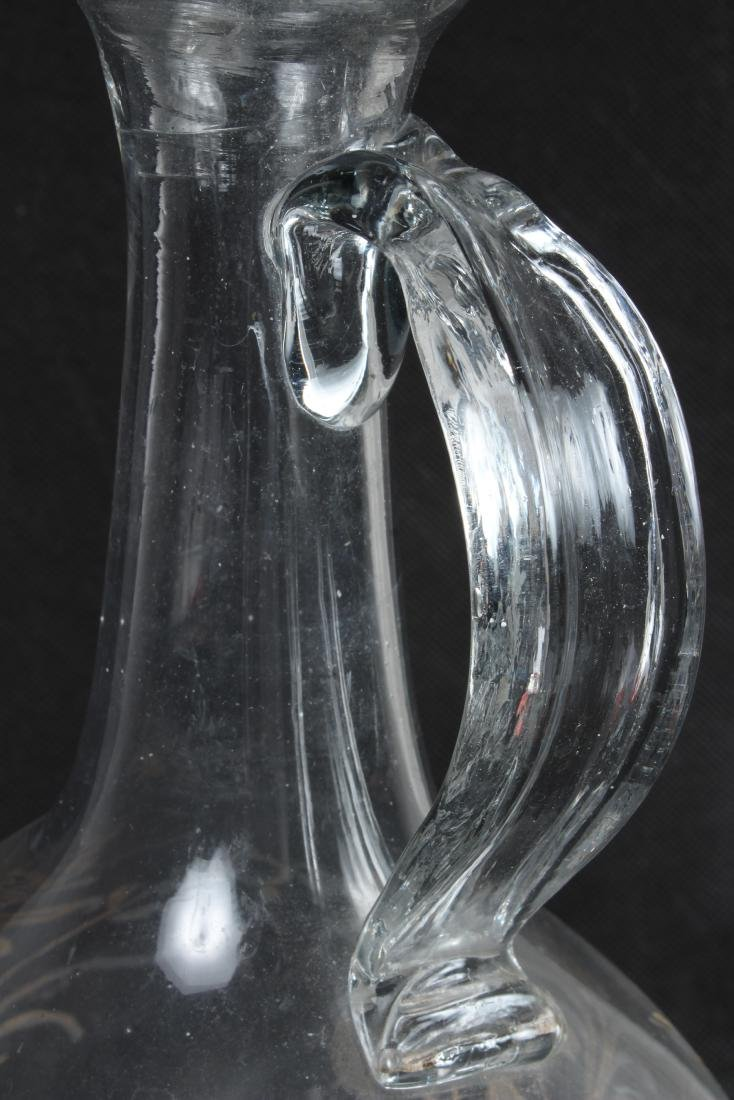 Hand Blown and Painted Glass Pitcher - 5