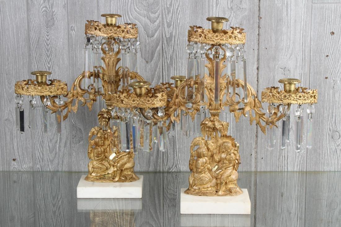 Dore Bronze and Prism Figural Girandole Garniture