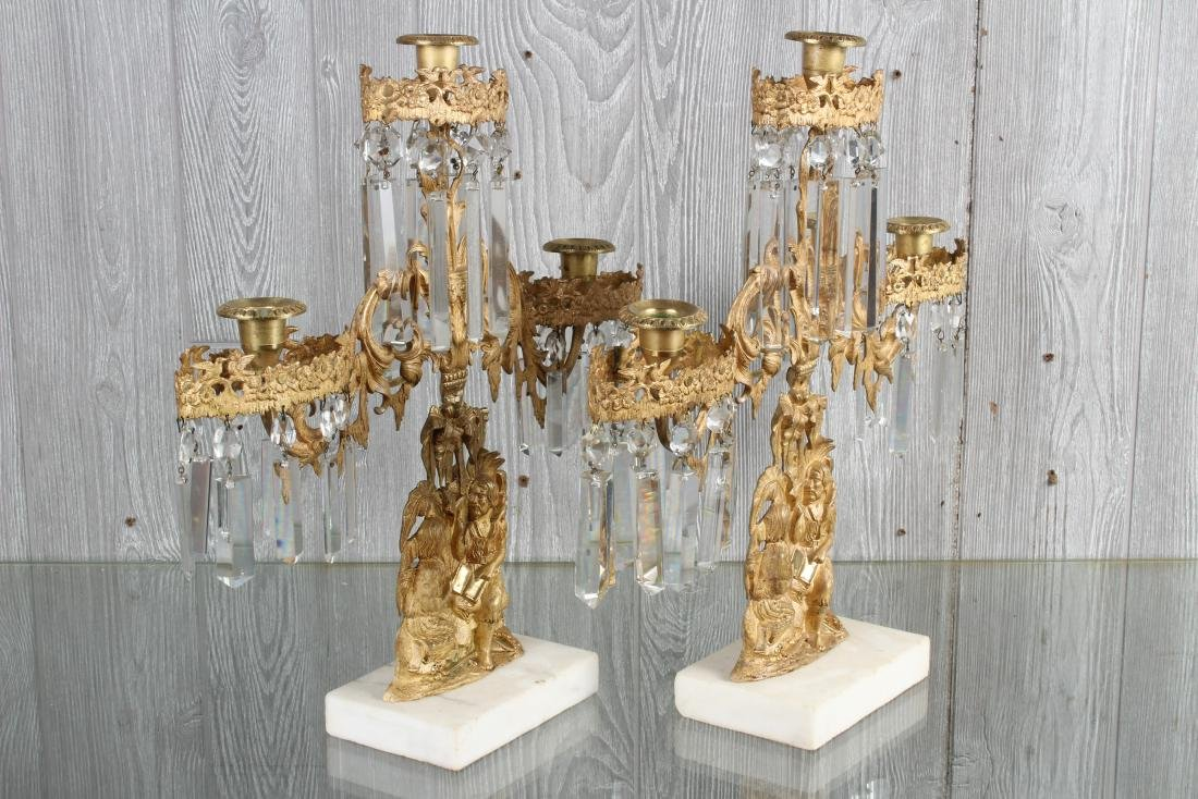 Dore Bronze and Prism Figural Girandole Garniture - 4