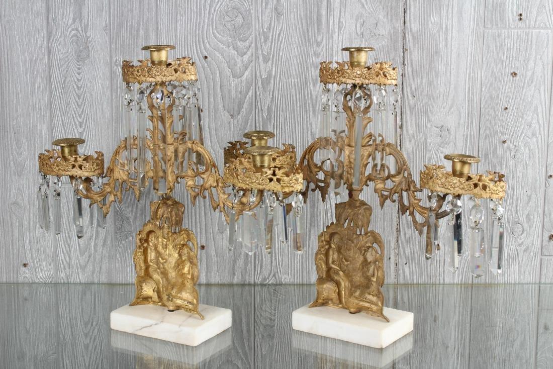 Dore Bronze and Prism Figural Girandole Garniture - 5