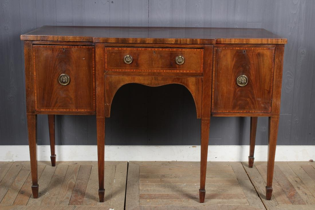 19th C English Hepplewhite Breakfront Sideboard
