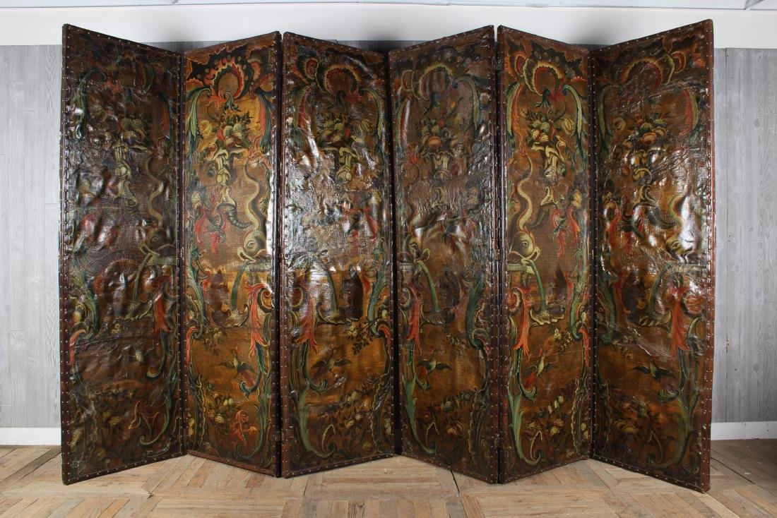 Large Antique Continental Folding Screen