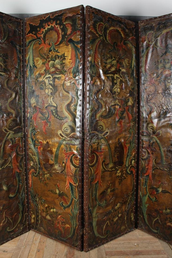 Large Antique Continental Folding Screen - 2