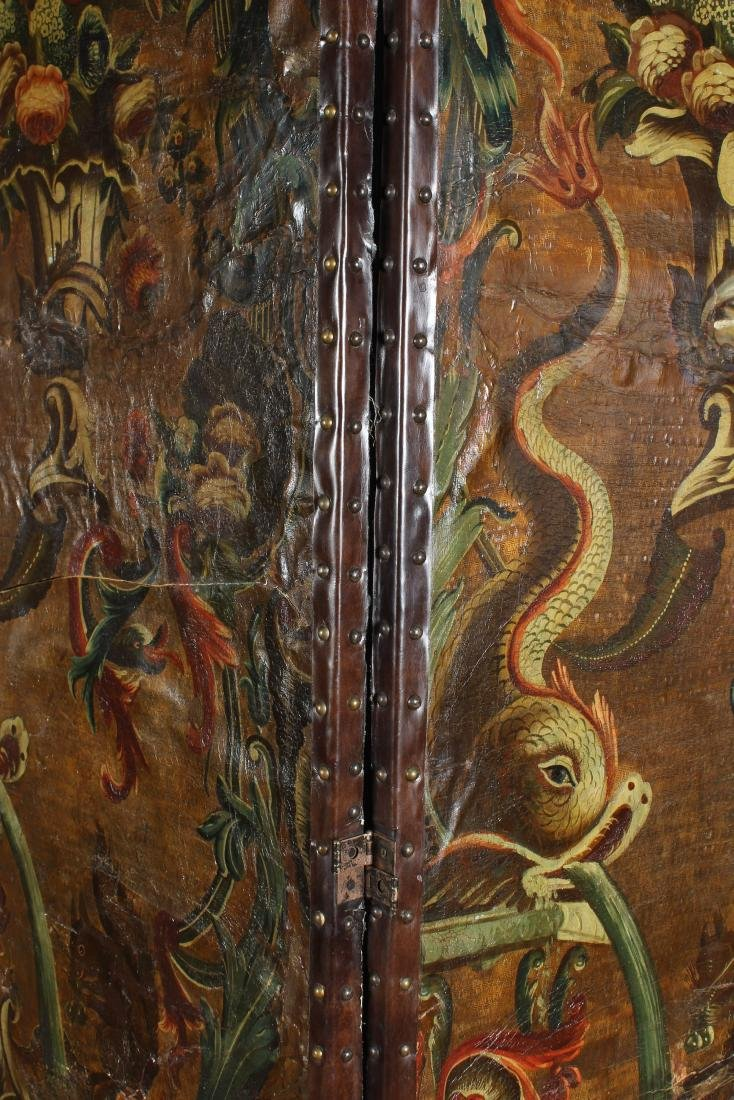 Large Antique Continental Folding Screen - 3