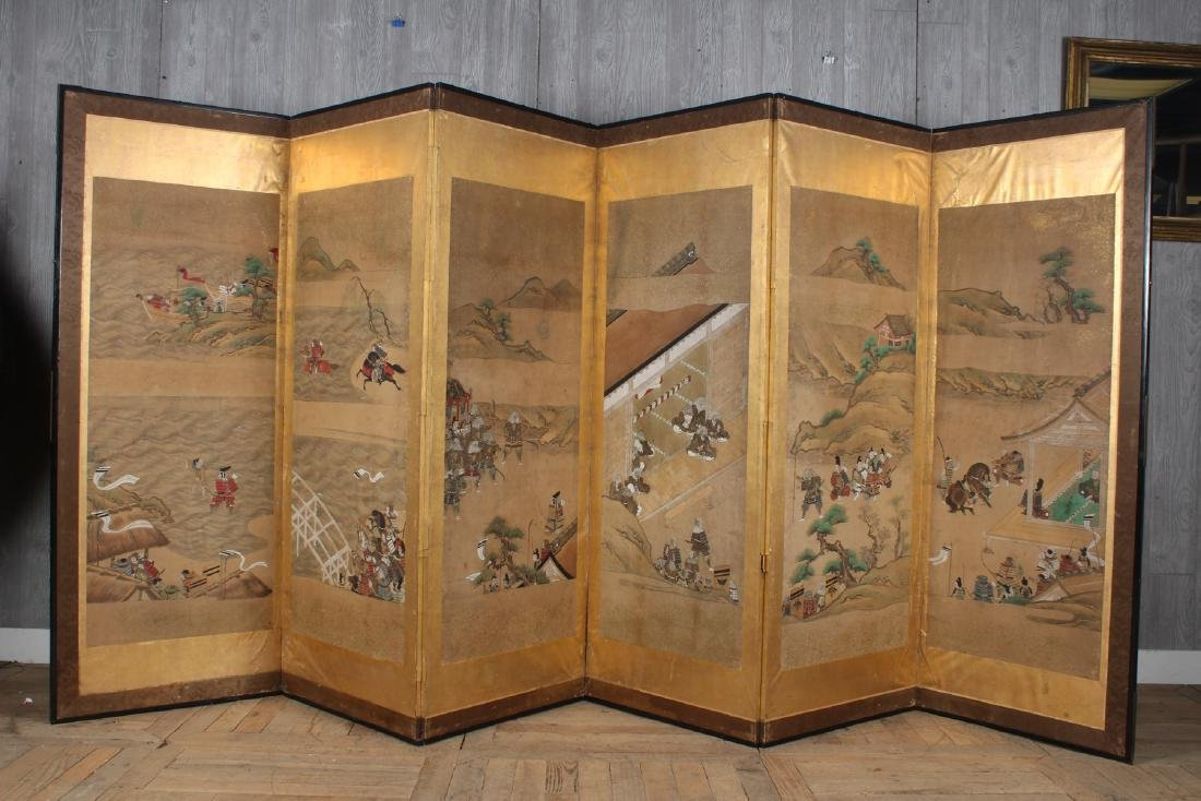 Japanese Painted Folding Screen - 2