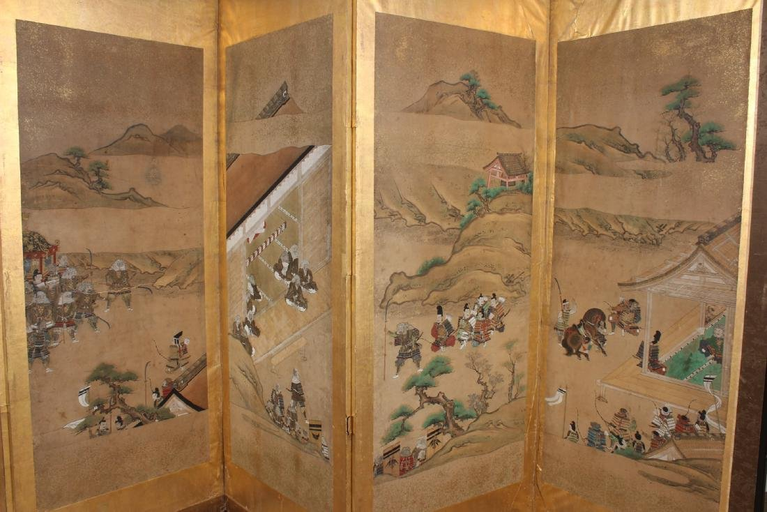 Japanese Painted Folding Screen - 3