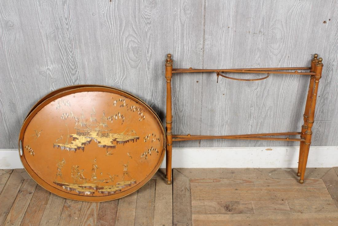 Tole and Chinoiserie Collapsible Tray Stand - 5