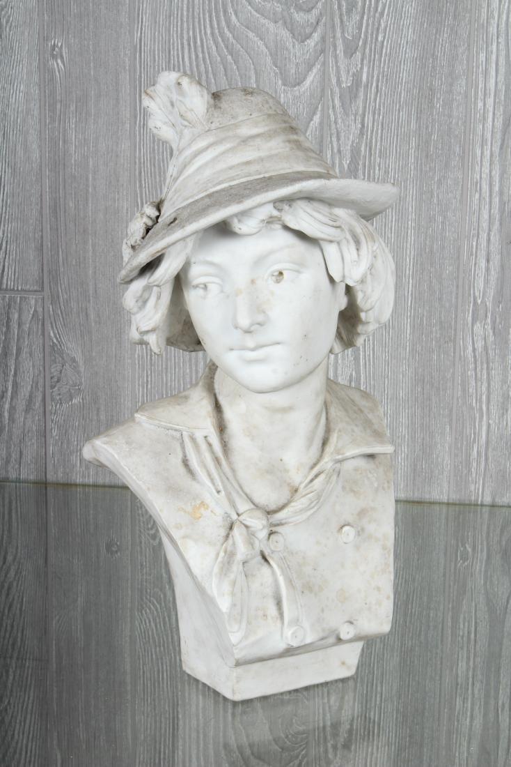 White Terracotta Bust Signed DaVergne