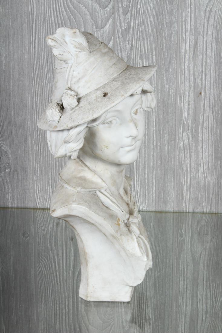 White Terracotta Bust Signed DaVergne - 2