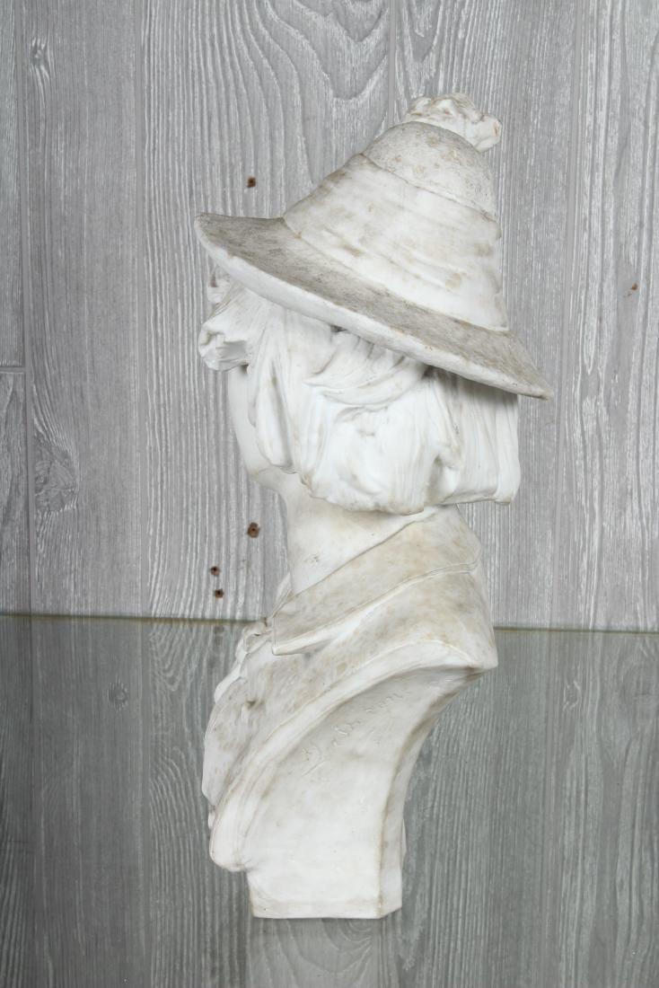 White Terracotta Bust Signed DaVergne - 4
