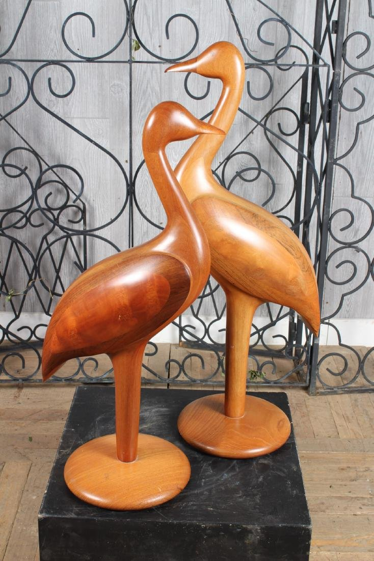 Pair Stylized Carved Wood Waterfowl Figures - 3