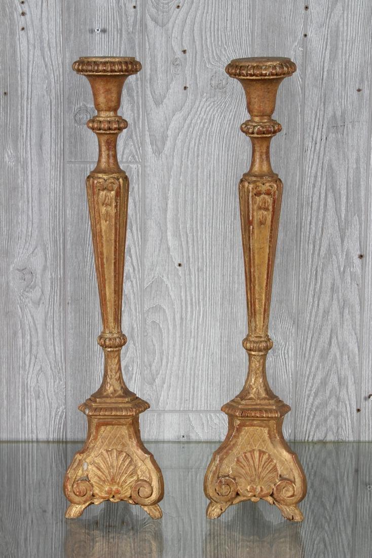 Pair Continental Gilt Wood Prickets - 2